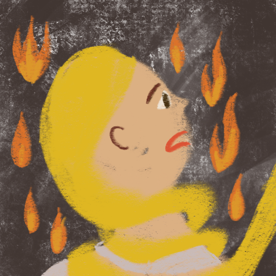 profile of woman surrounded by flames staring in terror with her hair menacingly wrapped around her throat