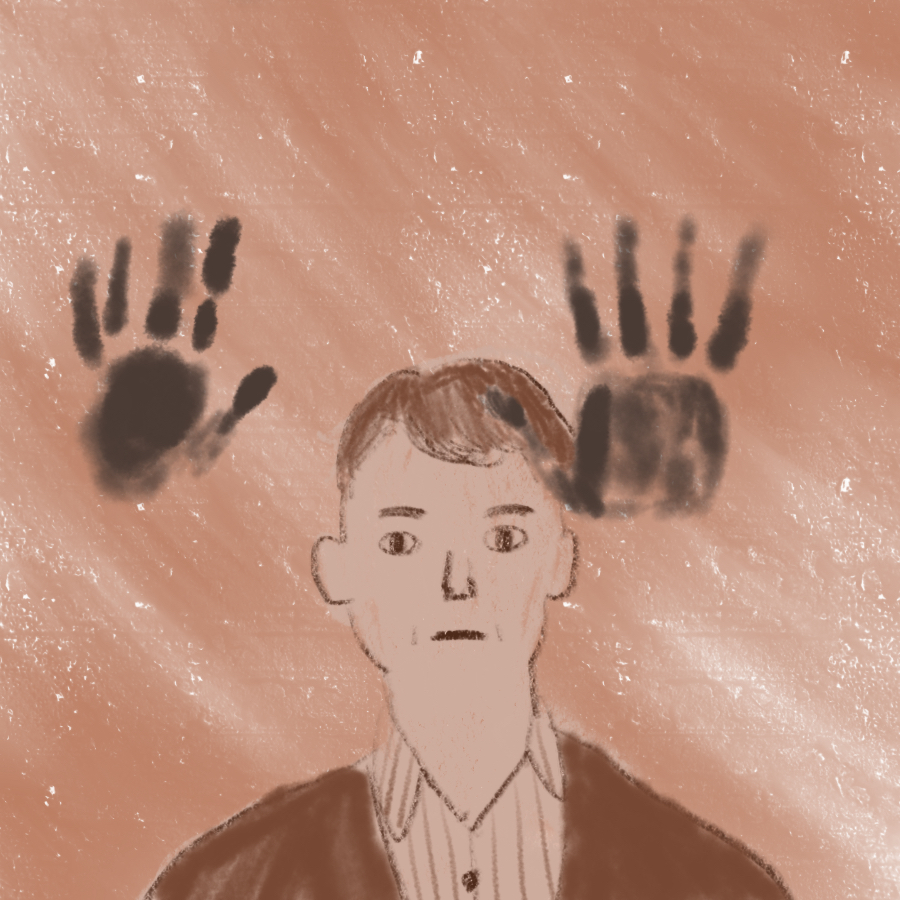 illustration of main character Pudd'nhead Wilson standing and two black handprints are in front of him