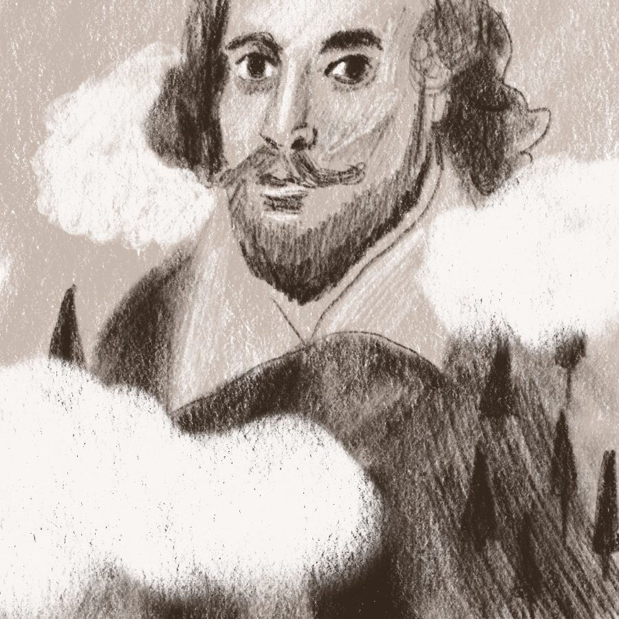 illustration of William Shakespeare standing above a forest and among the clouds
