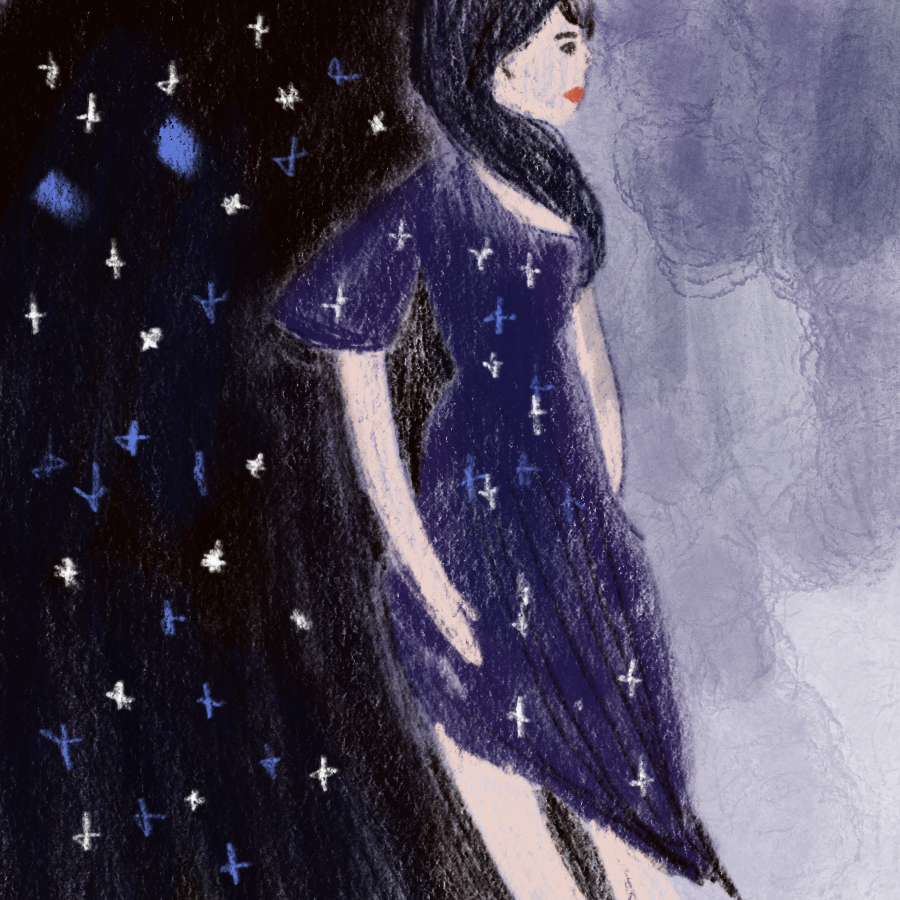 illustration of a woman wearing a dark dress with stars on it and on one side of her body is the night sky and the other clouds