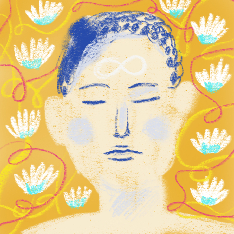 Illustration of a man in a meditative state—his eyes are closed and there is an infinity symbol on his forehead