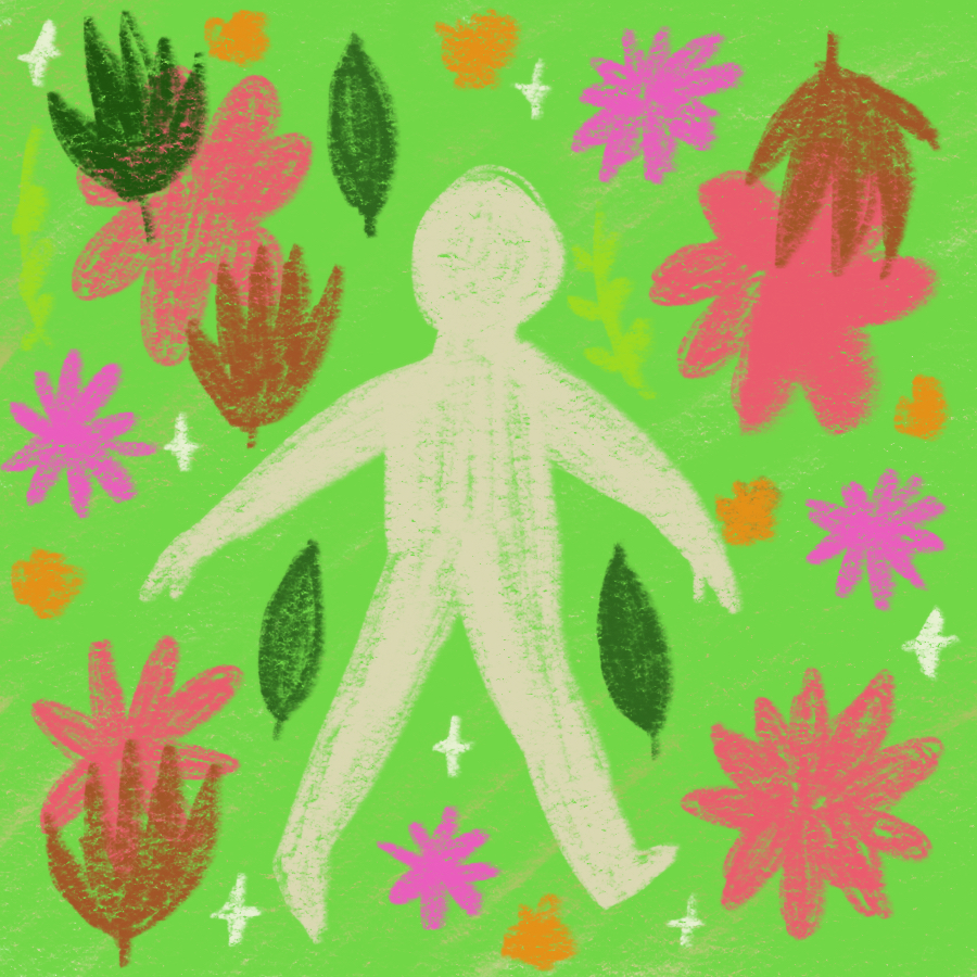 person standing with arms and legs outstretched surrounded by flowers, leaves, and little stars