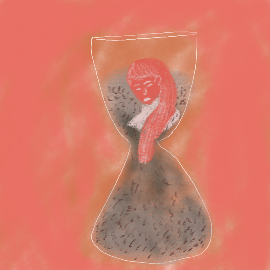 illustration of a woman within an hourglass