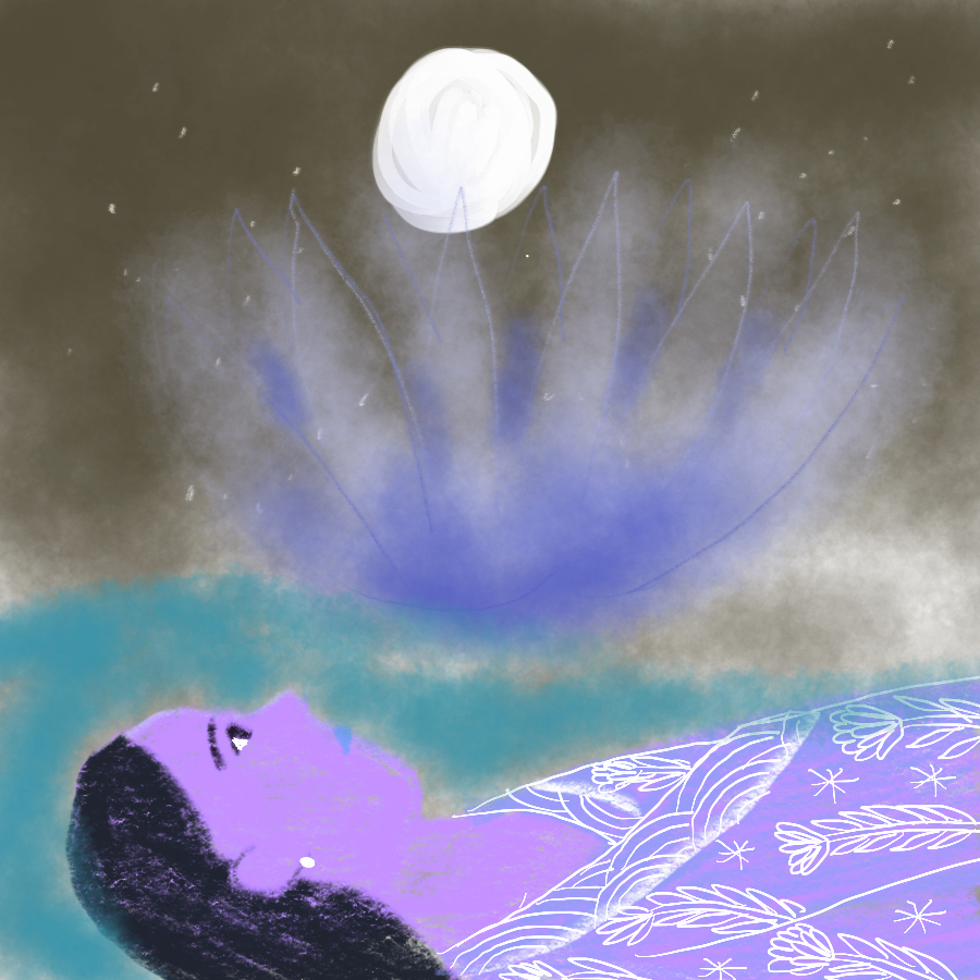illustration of a woman lying on her back looking up at the night sky through a puddle