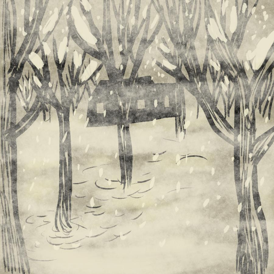 illustration of a snowy forest with a cabin in the distance