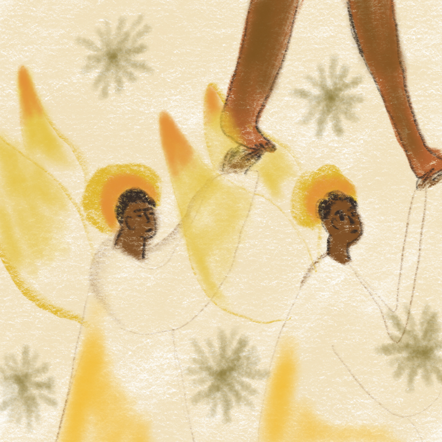 illustration of two Black angels with hands upraised supporting another Black person who is walking in the sky