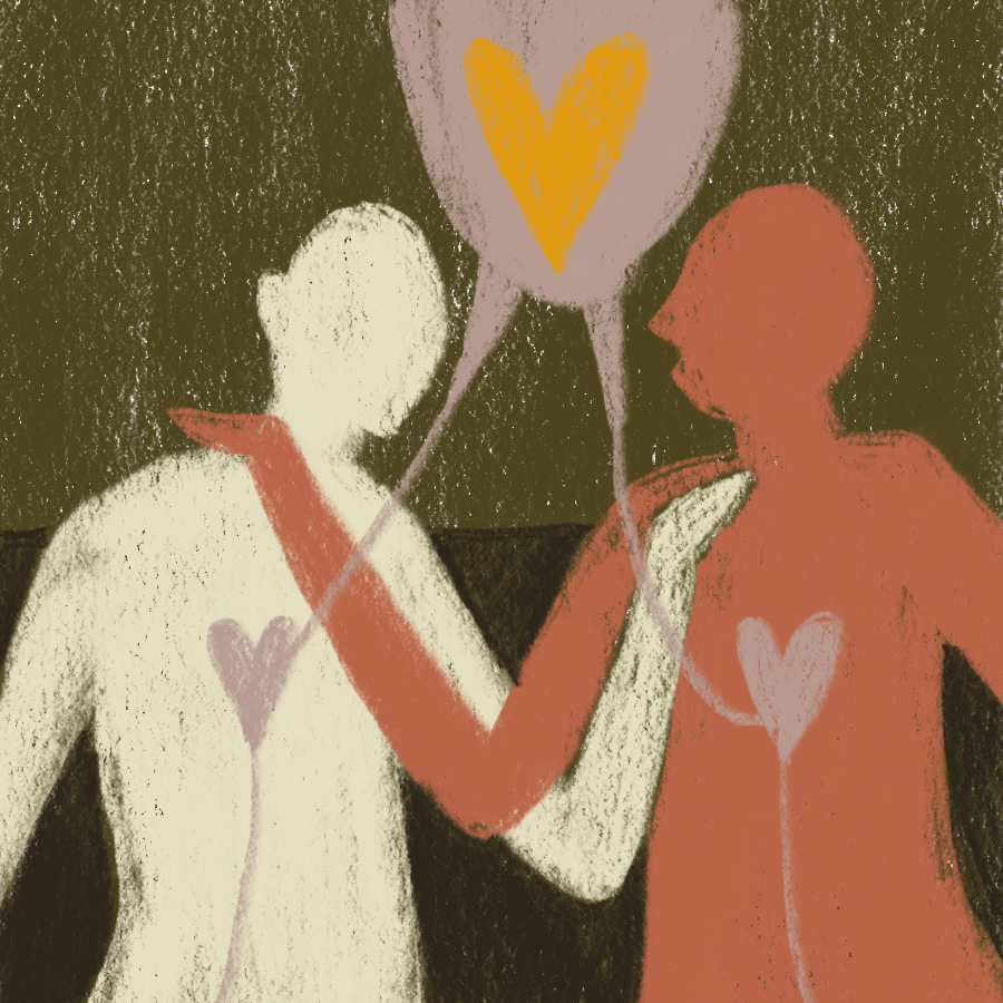 two people engaged in coversation with arms entertwined and hearts connected to one another through a large heart above them