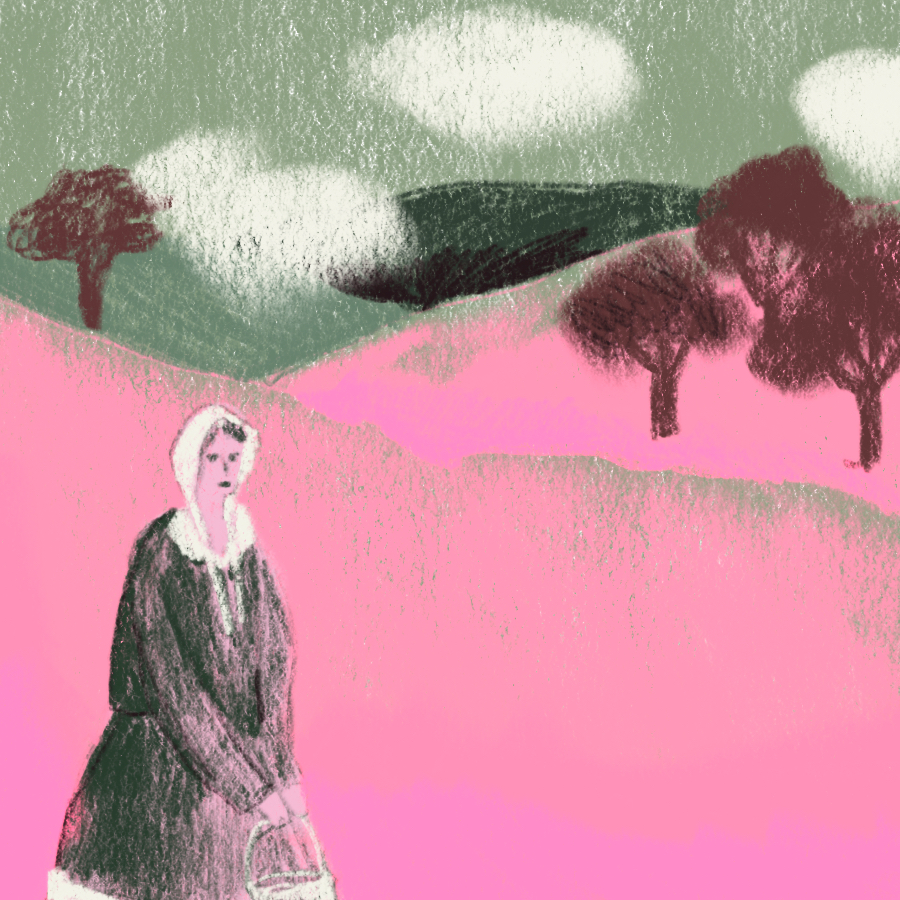 Ilustration of Tess on hilly pink terrain with trees and clouds in the background
