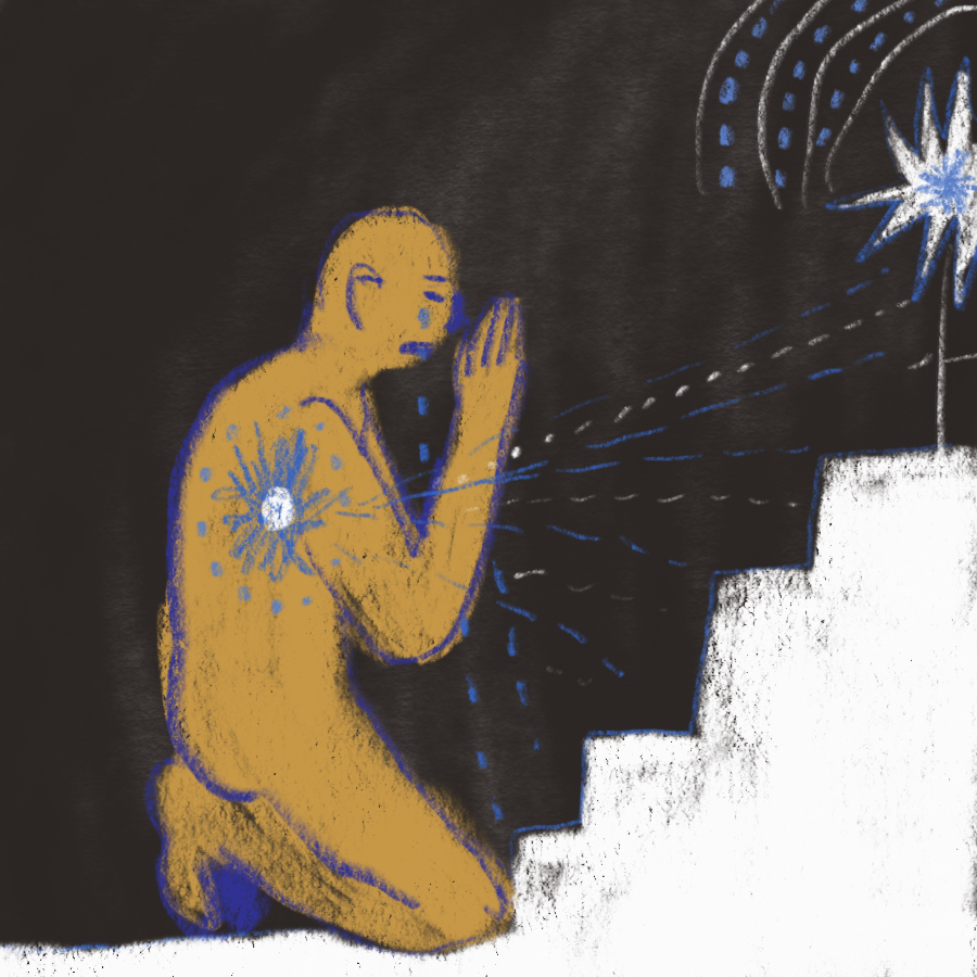 illustration of a person on his knees crying with his hands in prayer and a glowing star resonating in his chest with another star at the top of the stairs in front of him