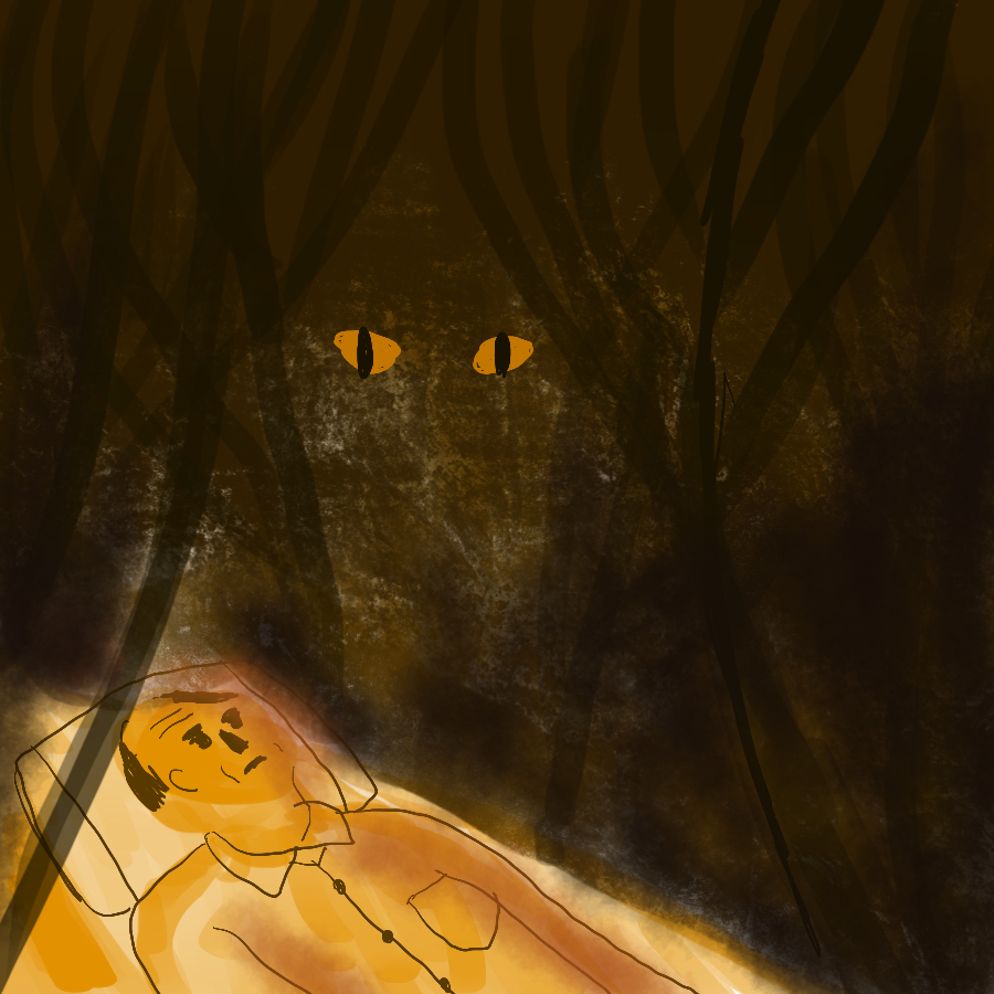 illustration of a man lying on a bed surrounded by dark woods with two glowing red eyes staring at him