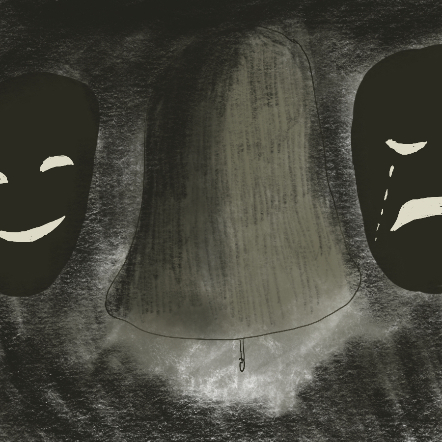 illustration of the Greek theater masks on either side of a large dark bell