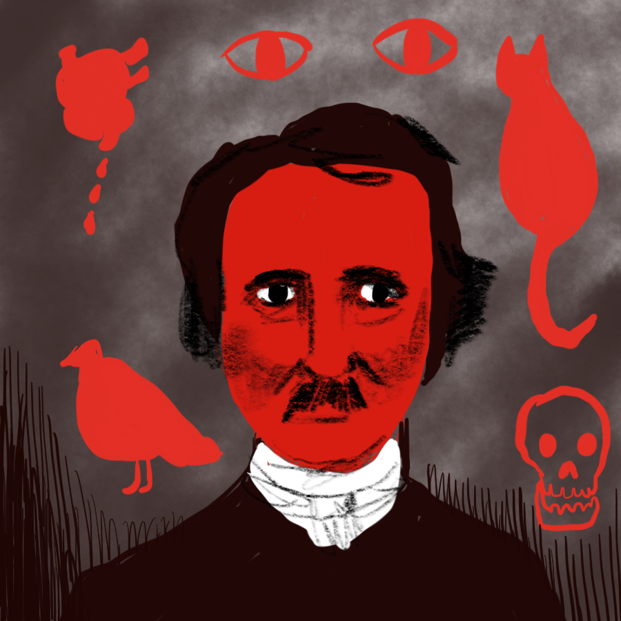 illustration of Edgar Allan Poe surrounded by symbols from his short stories: a raven, a cat, eyes, a human heart, and a skull