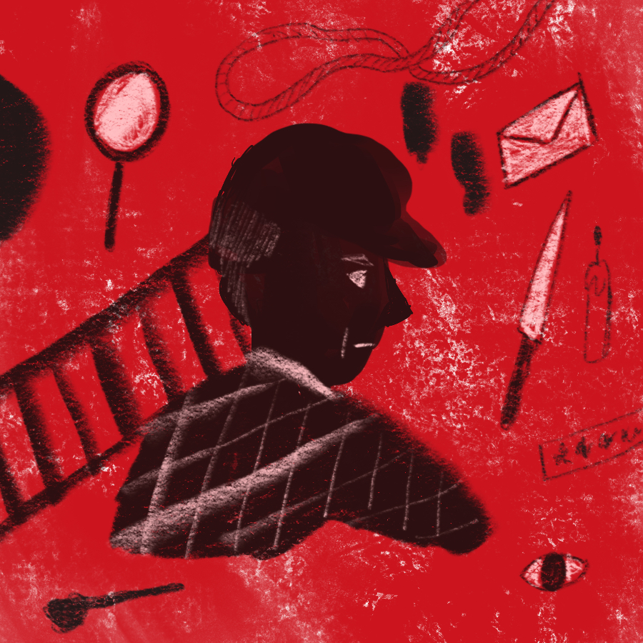 illustration of Sherlock Holmes in profile surrounded by various items from his many mysteries