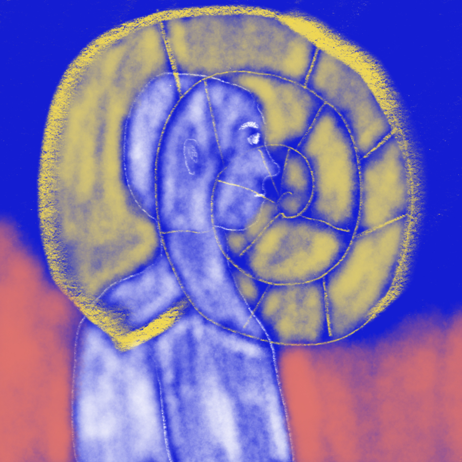abstract illustration of a person standing with a large nautilus superimposed upon its body