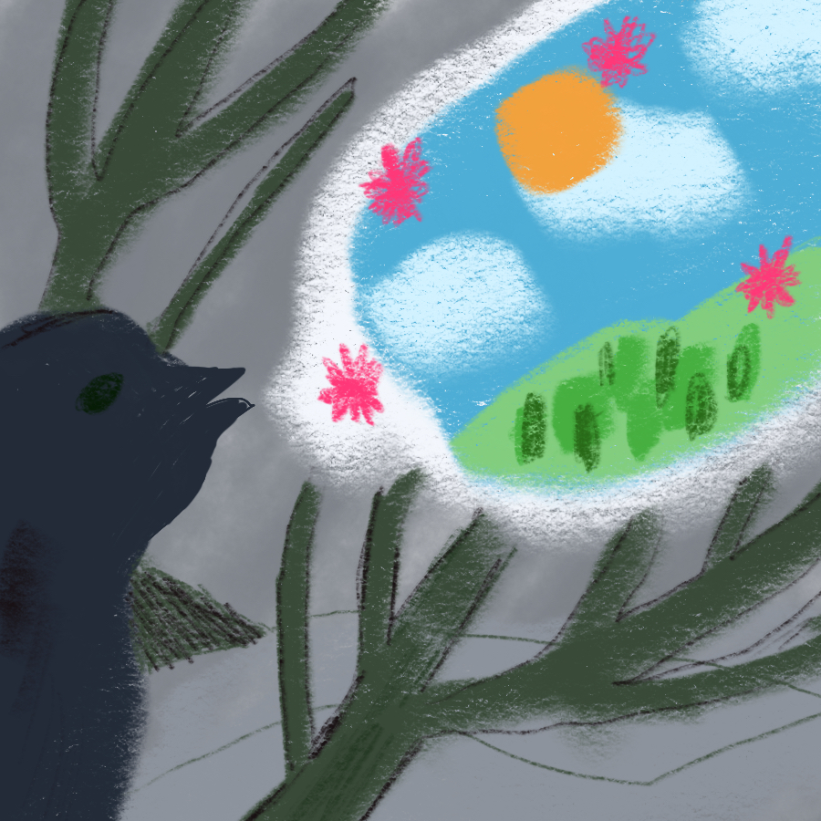 Illustration of a dark blue songbird in a tree on barren-looking land, but the bird appears to be thinking about blue sky and green tundra