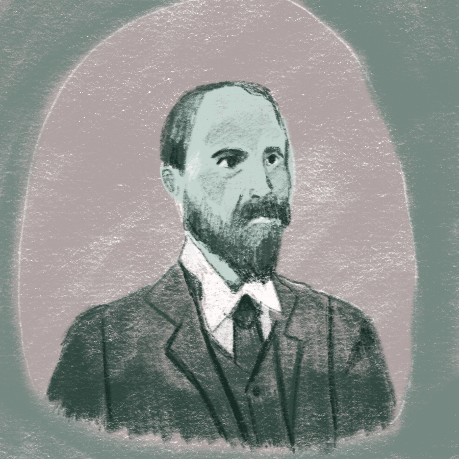 Illustration of a portrait of Henry Adams