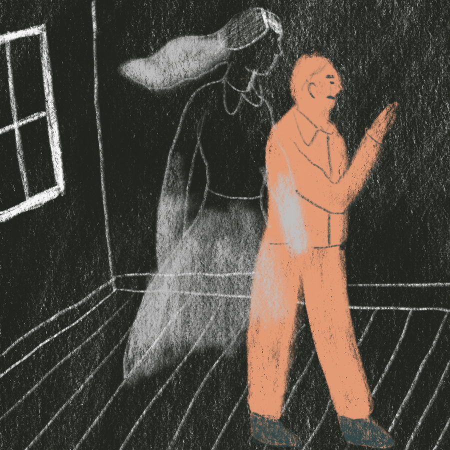 man looking around a room followed by a ghostly woman