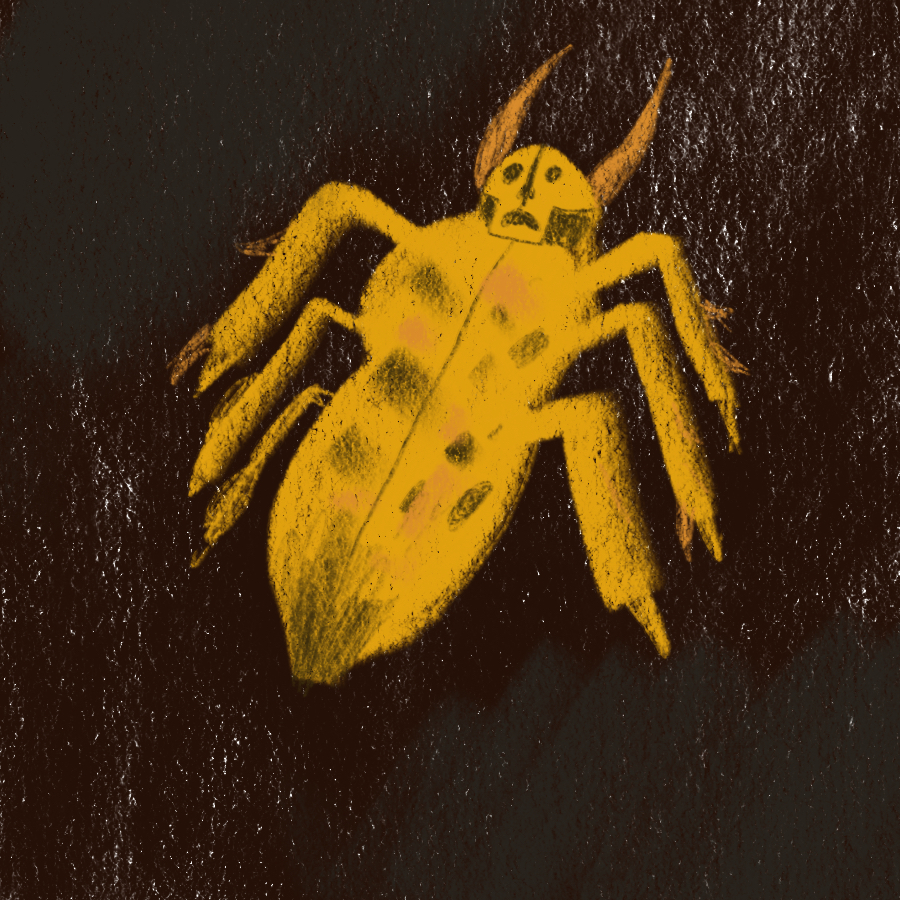 illustration of gold bug shaped like a beetle with the head of the bug depicted as a skull with pincer-like horns