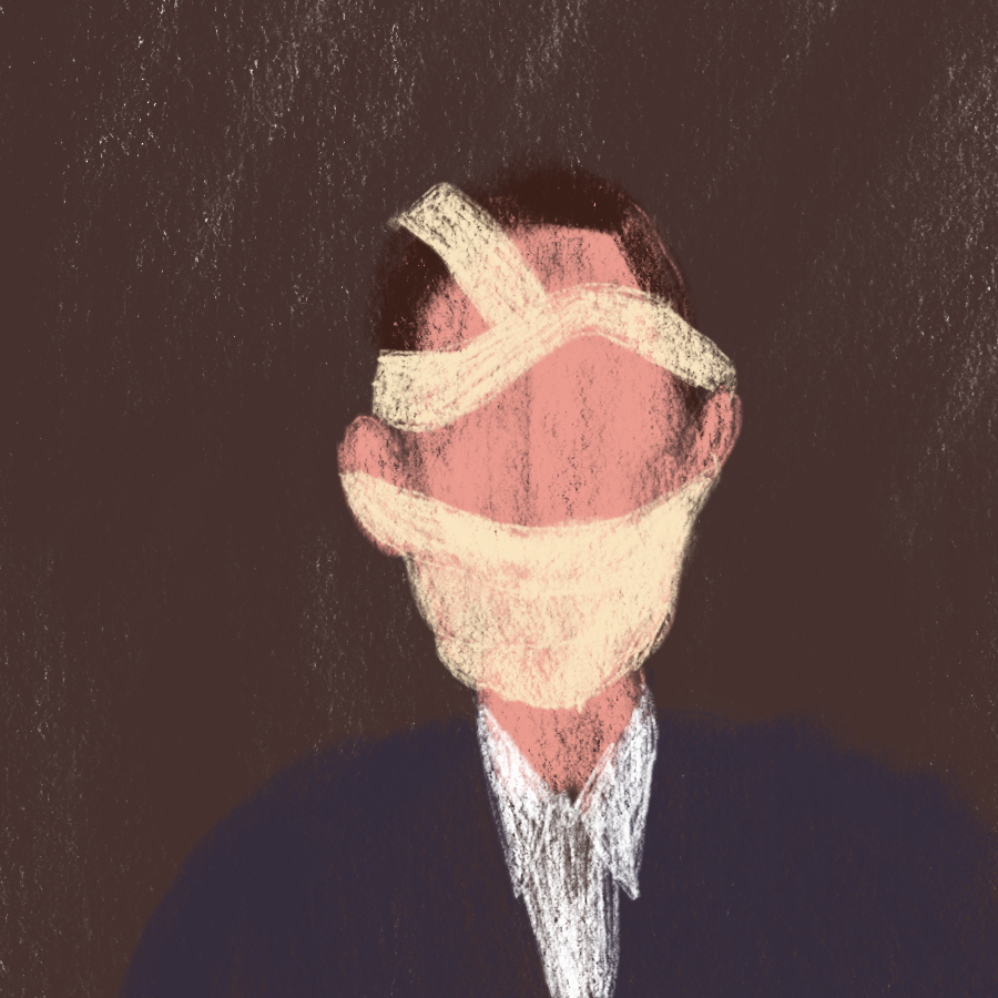 illustrated portrait of a nondescript man whose face is mostly covered in bandages