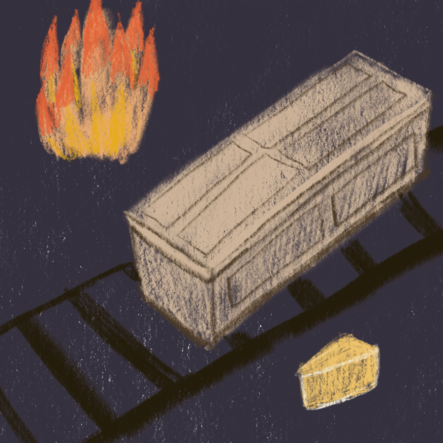 illustration of a coffin sitting on tracks next to a fire and a wedge of cheese