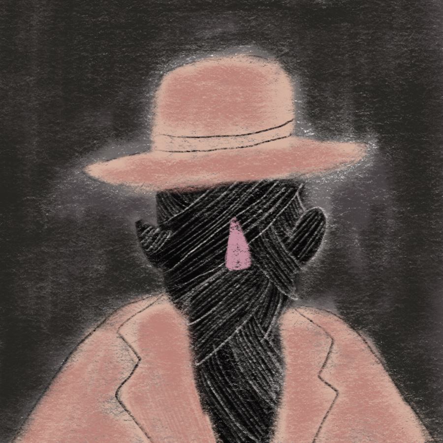 illustrated portrait of the Invisible Man, whose features are obscured by black cloth