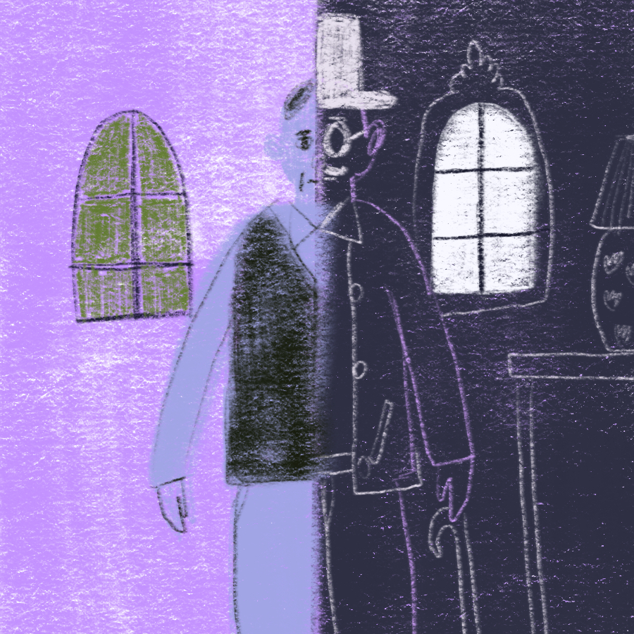 illustration of main character Brydon standing between two properties with each half of his body drawn in a different style to represent the respective properties