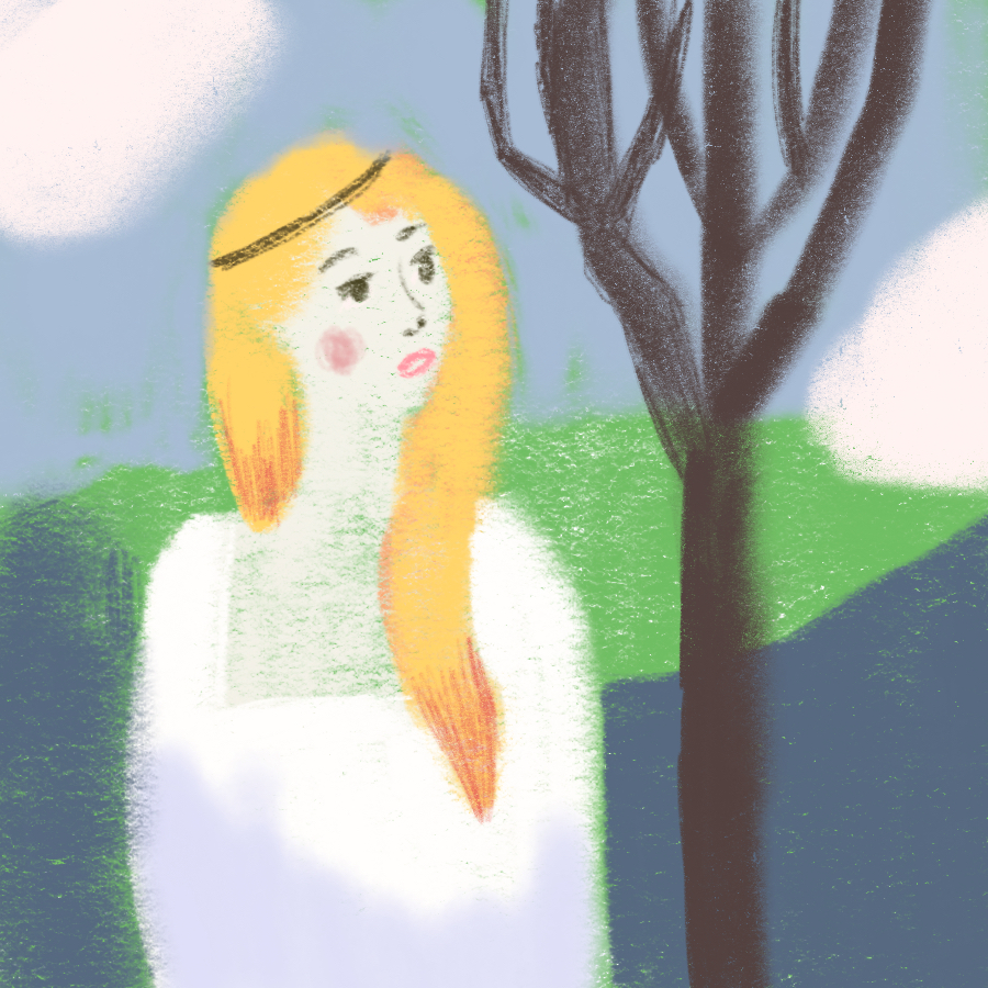 woman, the Lady of Shalott, standing in a white dress with long, blonde hair looking at a tree with a field and clouds in the background