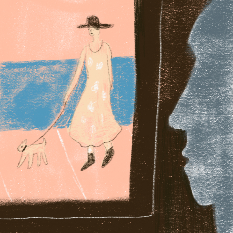 illustration of a man looking out a window at a woman in a hat and dress walking her little dog