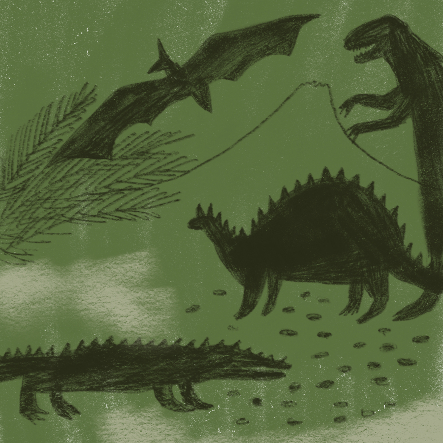 illustrated scene of several dinosaurs in a jungle, mountainous setting