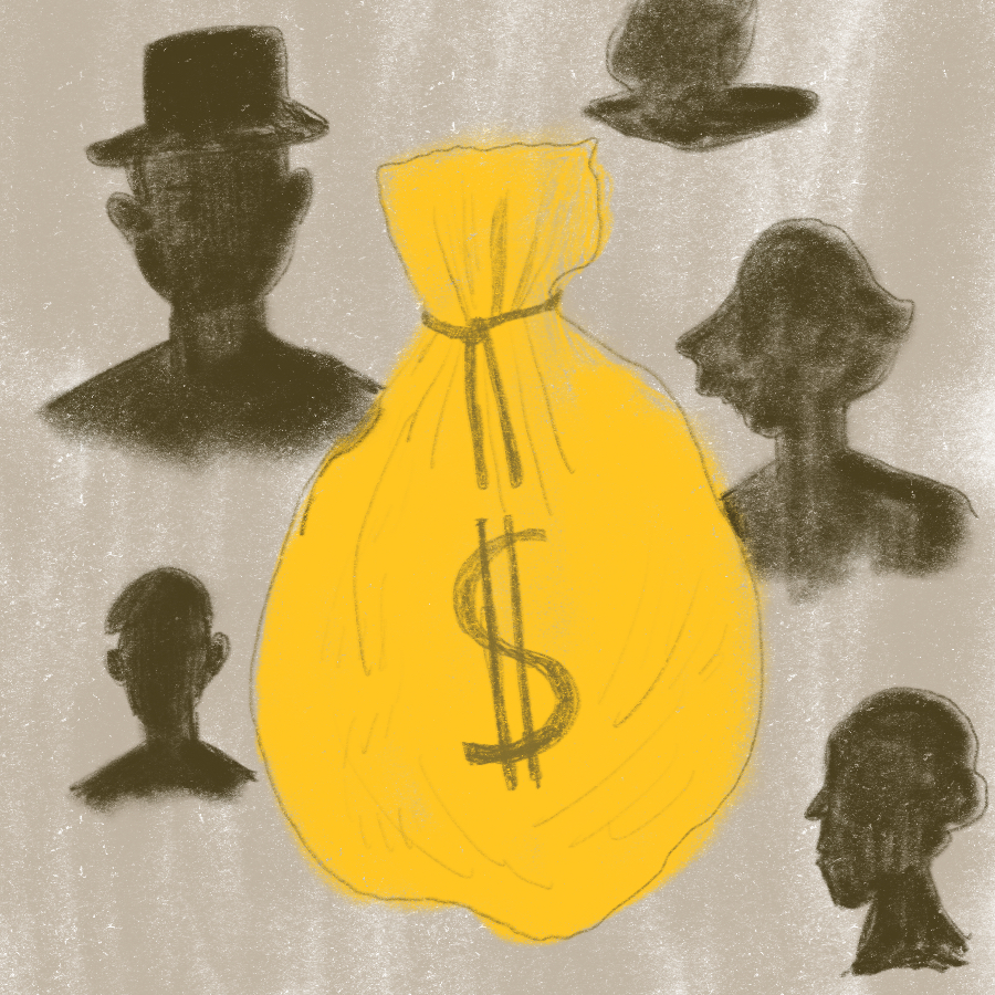 abstract illustration of a large golden bag of money surrounded by obscured outlines of people