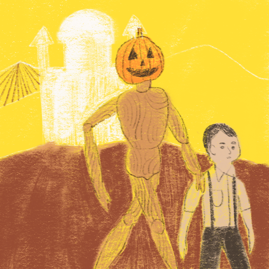 illustration of main character Tip and Jack Pumpkinhead walking with an ornate building in the background