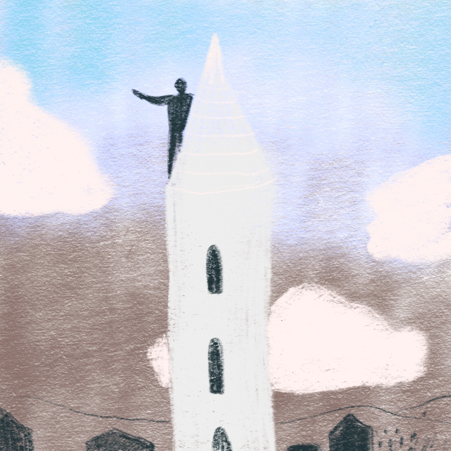 Illustration of Harvard Solness perched at the top of a high church tower
