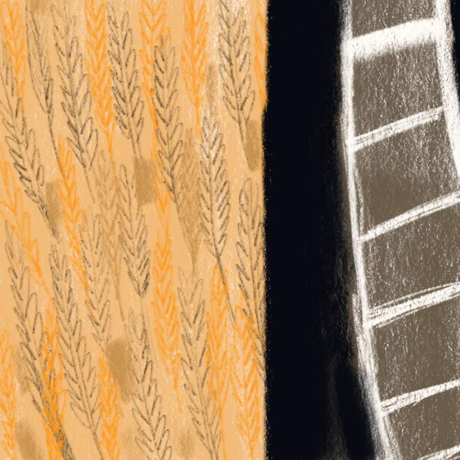 abstract illustration of wheat fields confronting train tracks