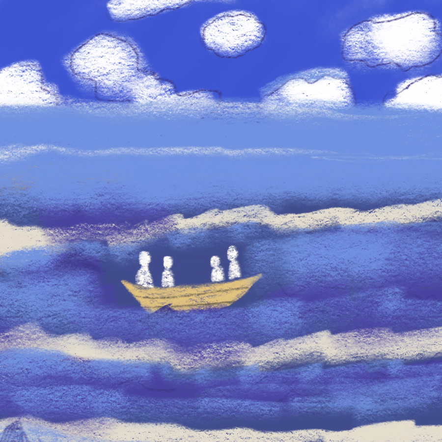 illustration of four people sitting in a small boat in the middle of the ocean