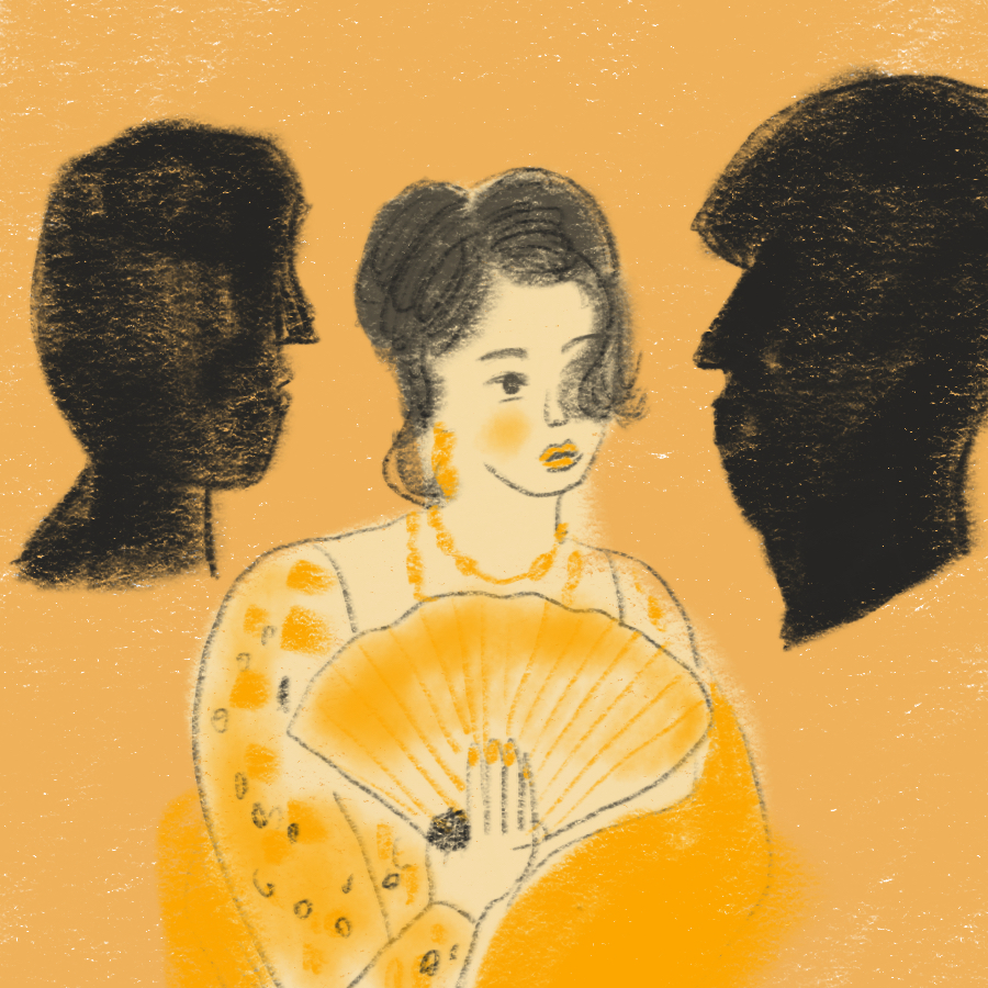 illustration of Isabel Archer with a hand fan positioned between two silhouetted profiles