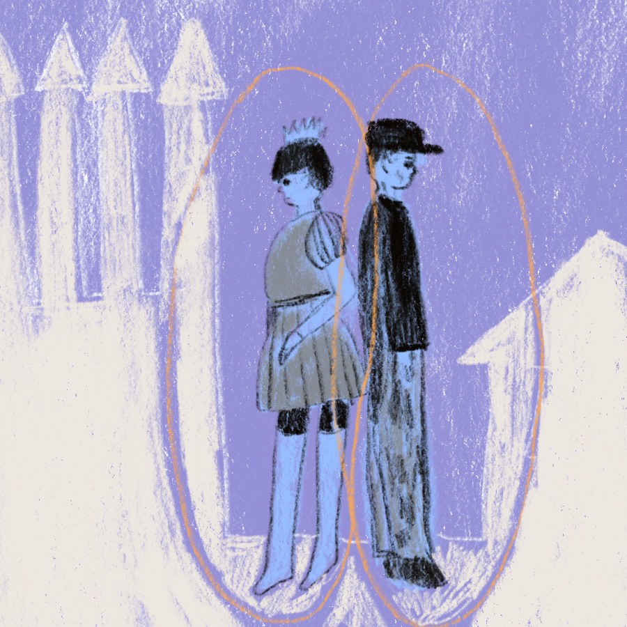 illustration of the prince and the pauper standing back to back with a castle on the prince's side and a low building on the pauper's