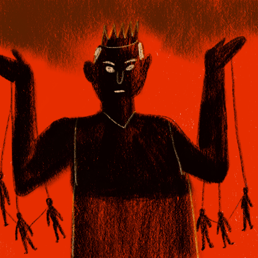illustration of a man wearing a crown, arms raised, and holding strings that are connected to people dangling below him