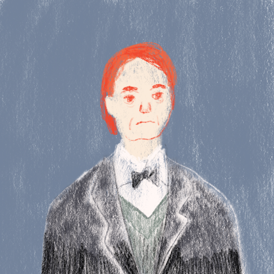 illustrated portrait of a man in a three-piece suit with bright red hair