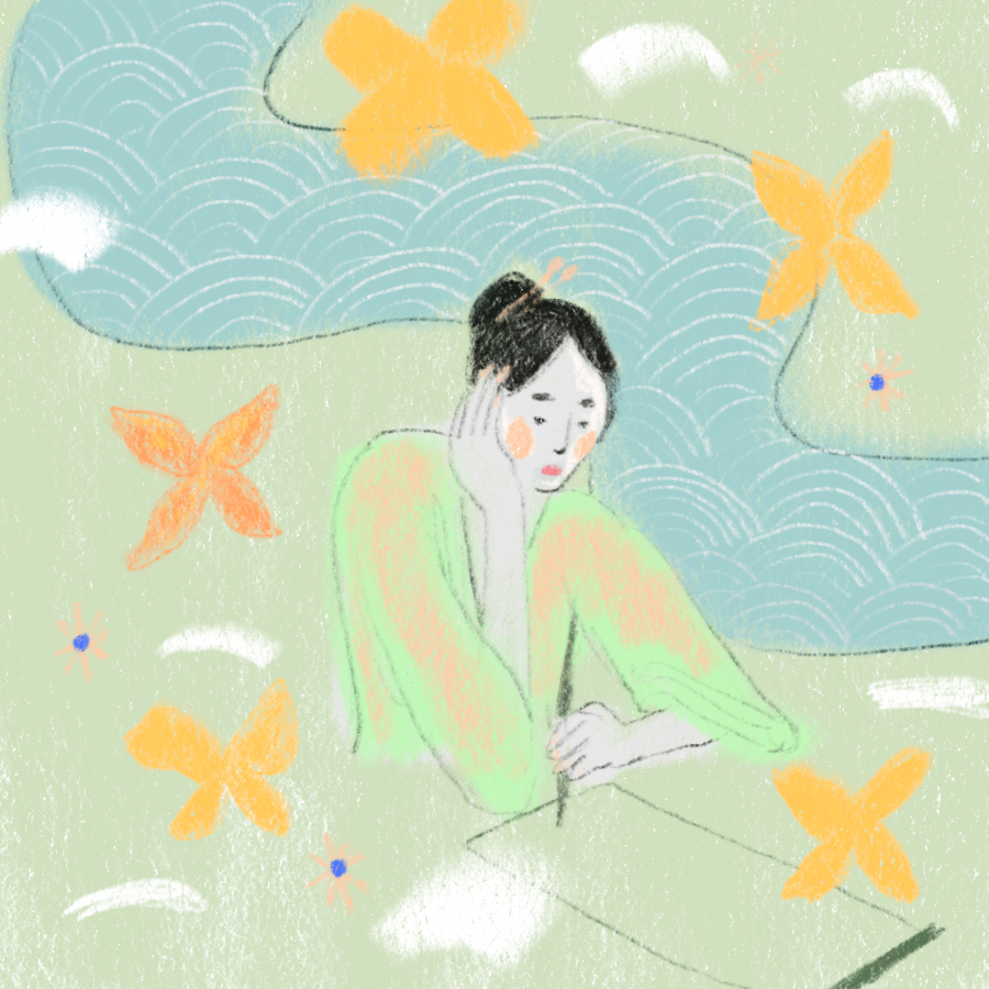 woman sitting and writing on a piece of paper with her hand on her cheeck with a river and butterflies in the background