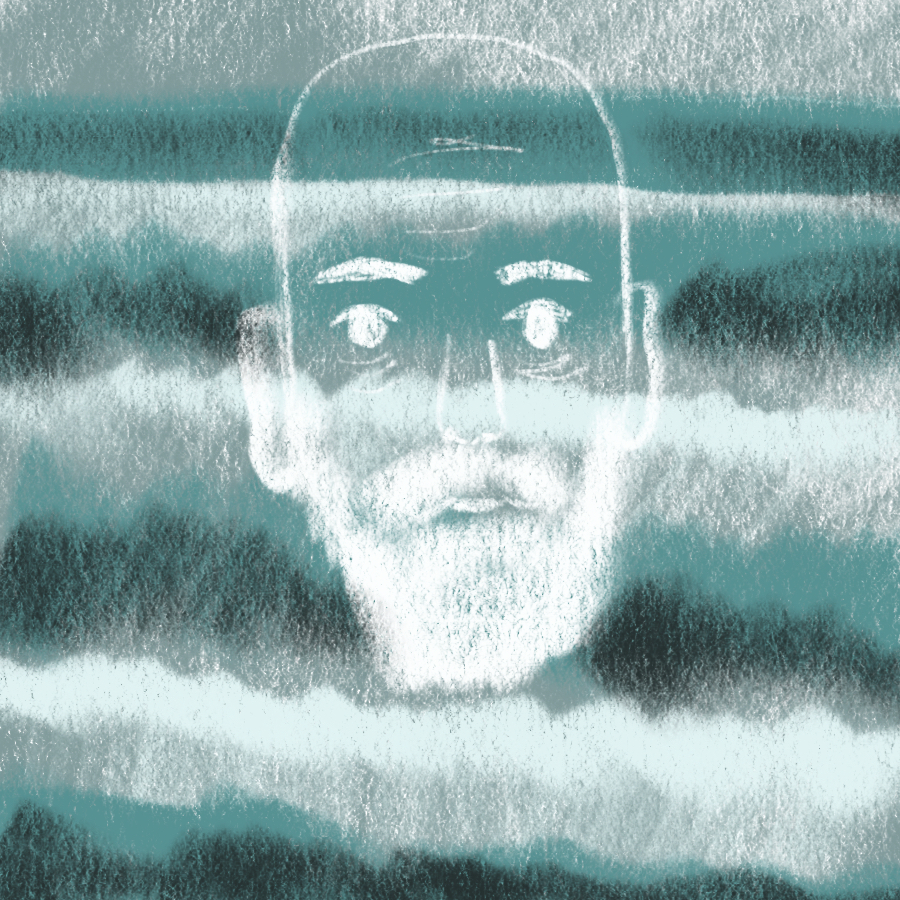 illustration of a bald, bearded man's face superimposed upon a stormy ocean