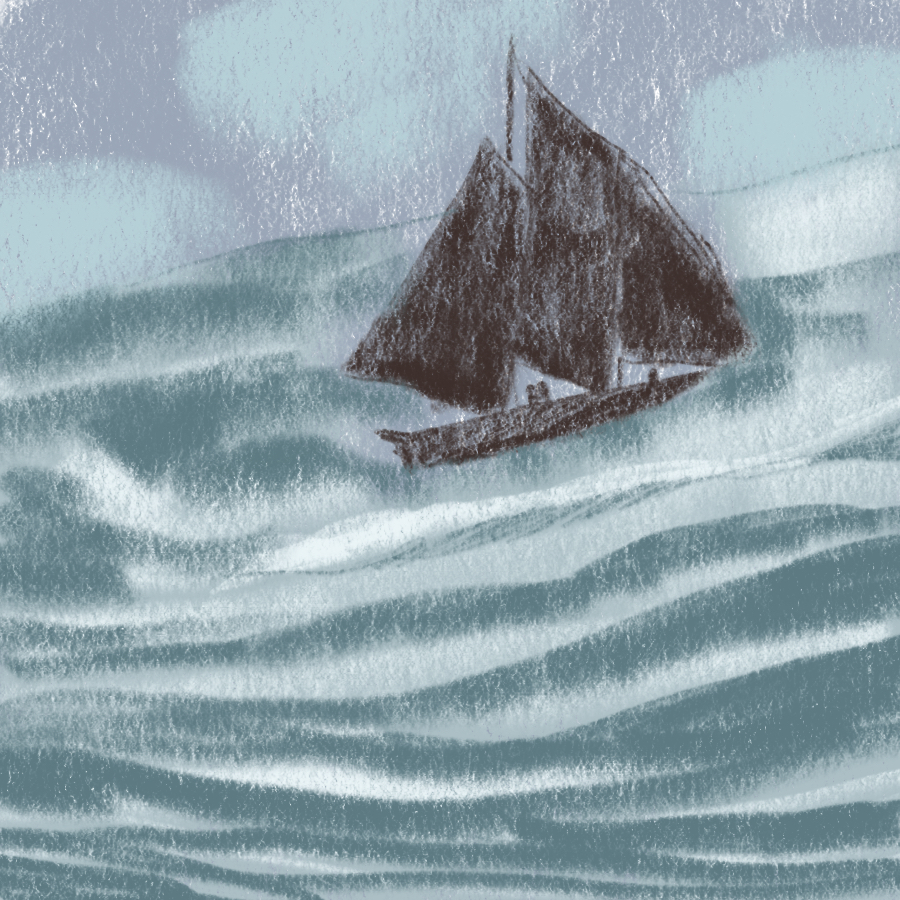 illustration of a ship sailing on the ocean during a storm