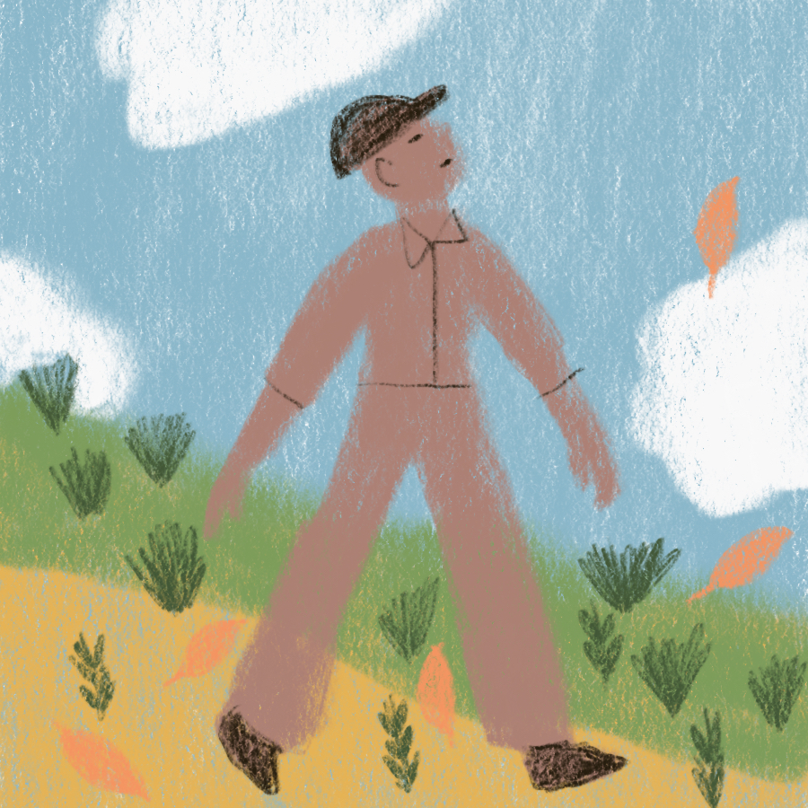 illustration of a man walking through a field with his eyes turned toward the sky