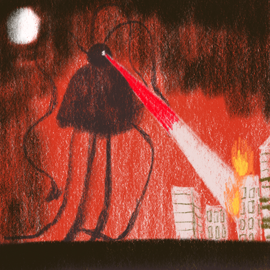 illustration of a large alien vehicle, a tripod, attacking a city with lasers