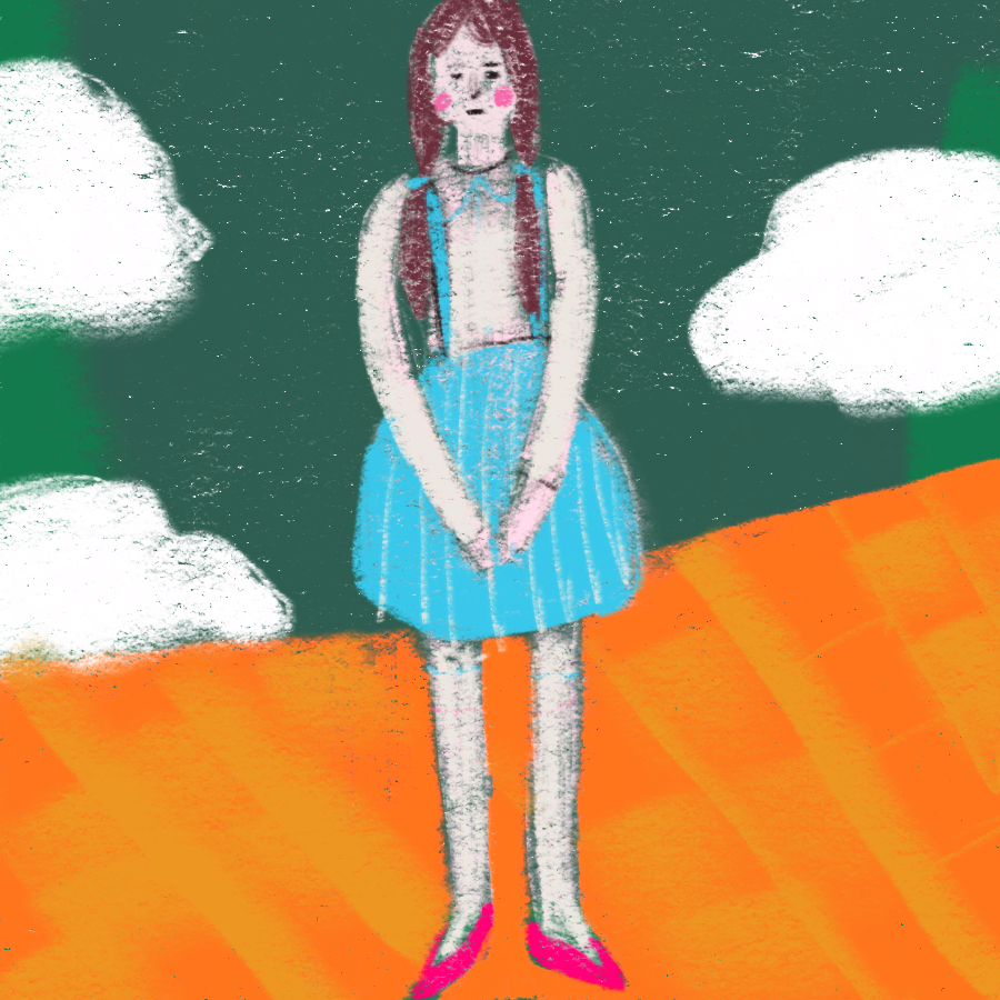 illustration of main character Dorothy standing on the yellow brick road