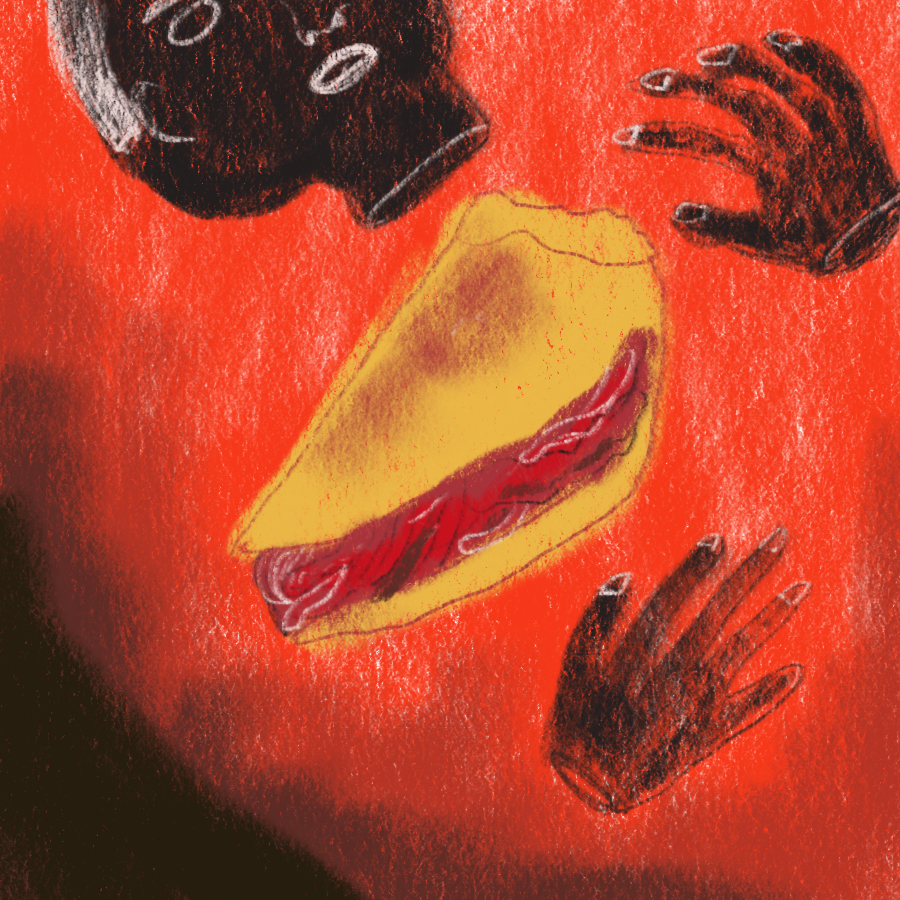 illustration of a meat pie surrounded by a human head and hands