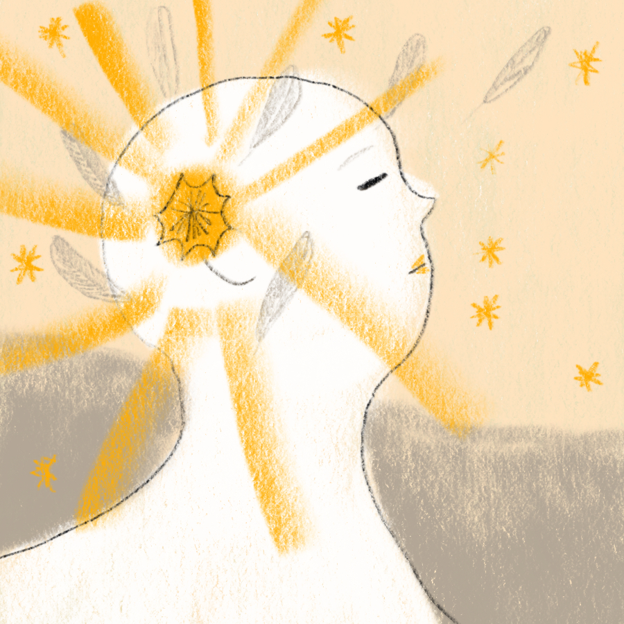 illustrated person standing in profile with radiant, inspiring beams coming out of the center of the head