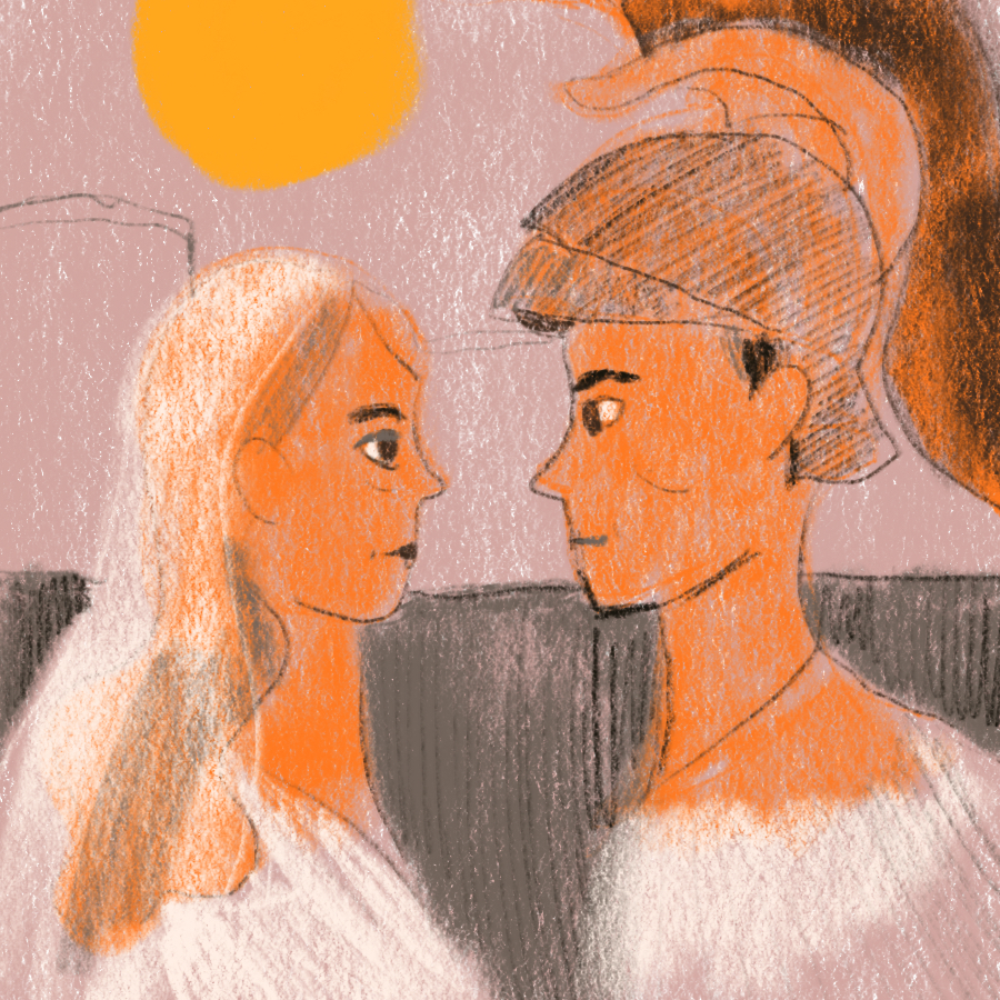 illustrated scene of Toilus and Cressida, in profile, looking at one another with the setting sun in the background