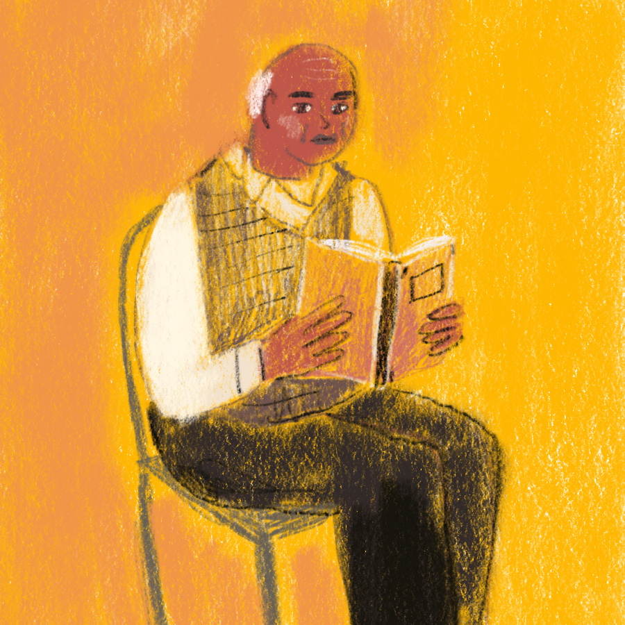 Illustration of an older man sitting on a chair and reading a book