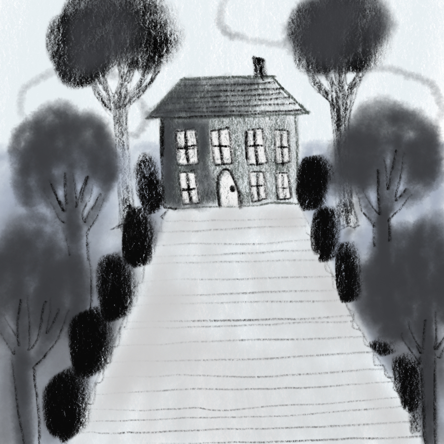 Illustration of stairs leading up to Serebriakov's estate