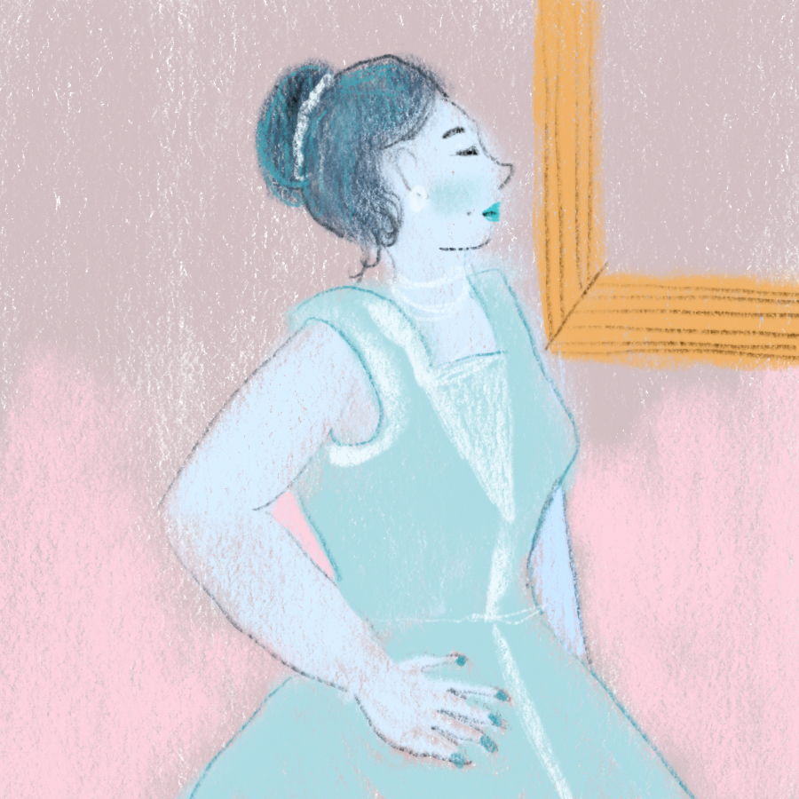 illustration of main character Becky Sharp standing in a dress and looking in a mirror